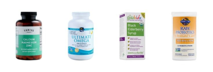 Supplements from Thrive market - Elderberry, Omega-3, Probiotics, Magnesium