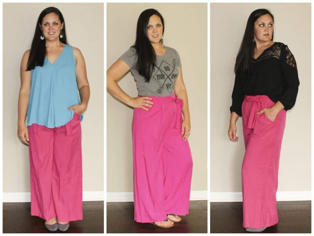 Le Tote Review - Pink pants with blue blouse, graphic t, and black peasant top